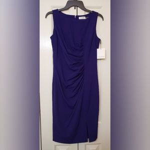 Calvin Klein Sunburst Sheath Royal Purple 4 NWT